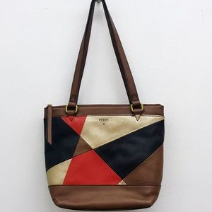 NEW Fossil Leather Patchwork Purse